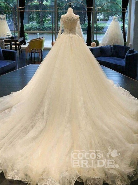 Cathedral Train Appliques Long Sleeve A-line Wedding Dresses_3