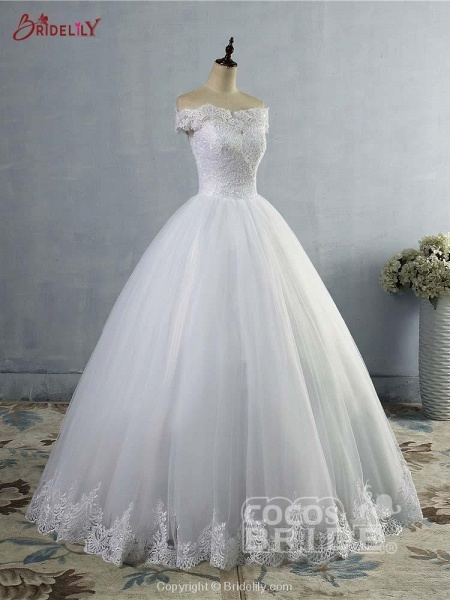 New Lace Off-The-ShouldeR Ball Gown Tulle Wedding Dresses_2