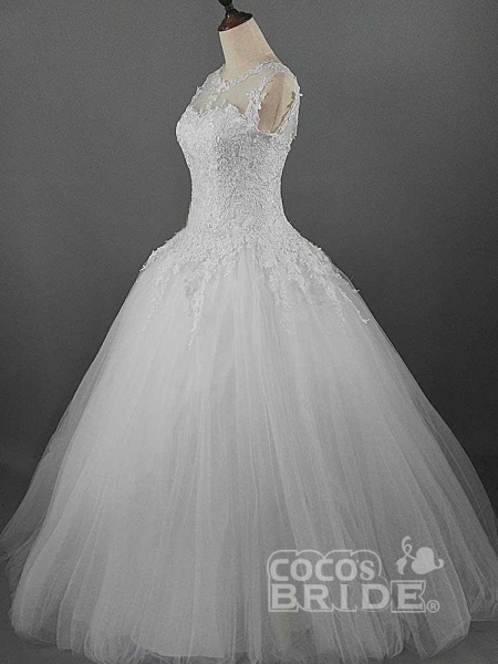 Glamorous Lace Ball Gown Tulle Wedding Dresses_3