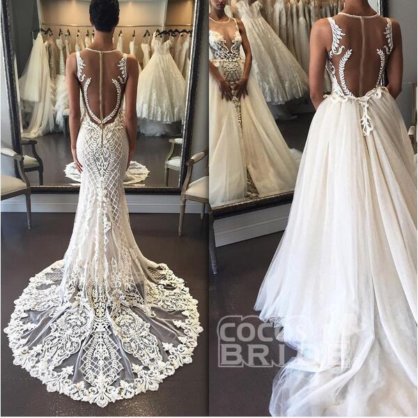 Gorgeous Illusion Tulle Detachable-Train Sleeveless Lace Applique Wedding Dress_2
