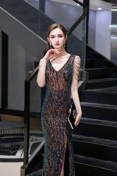 V-Neck Sequins Long Evening Dress With Split_6