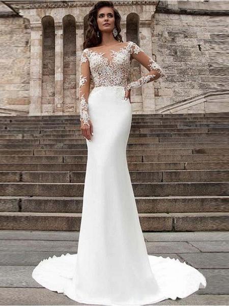 Glamorous Long Sleeves Appliques Mermaid Wedding Dresses_1
