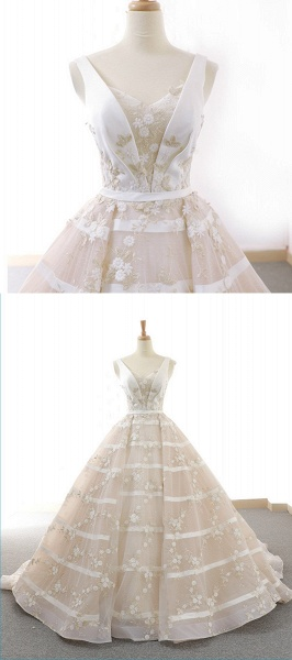 V Neck Long A-Line Ball Gown Wedding Dress_4