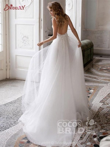 V-neck Backless Boho Wedding Dresses_3