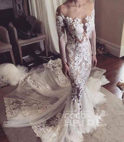 Pretty Mermaid Lace Appliques Long Sleeves Sheer Tulle Wedding Dress_4