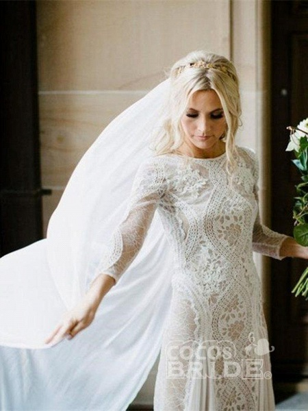 Long Sleeves Backless Floor Length Lace Wedding Dresses_3