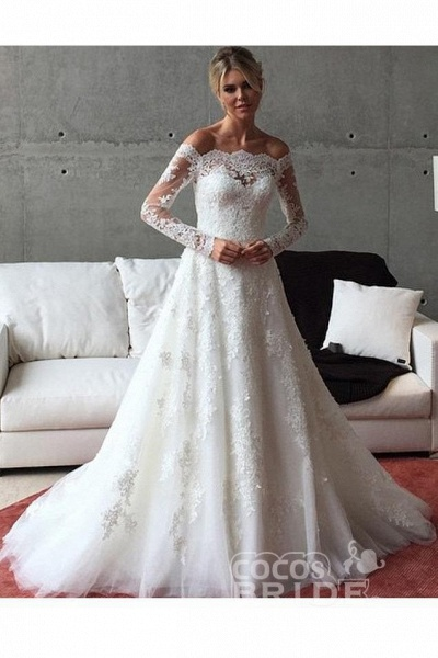 A Line Off the Shoulder Long Sleeves Sweep Train Wedding Dress_2
