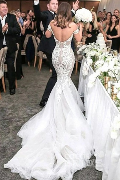 Charming Mermaid Style Off-the-Shoulder Sweep Train Lace Wedding Dress_2