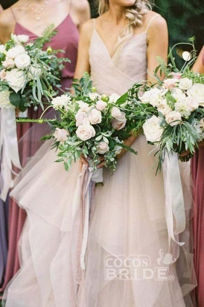 Puffy Spaghetti Straps V Neck Backless Asymmetrical Light Pink Long Wedding Dress_3