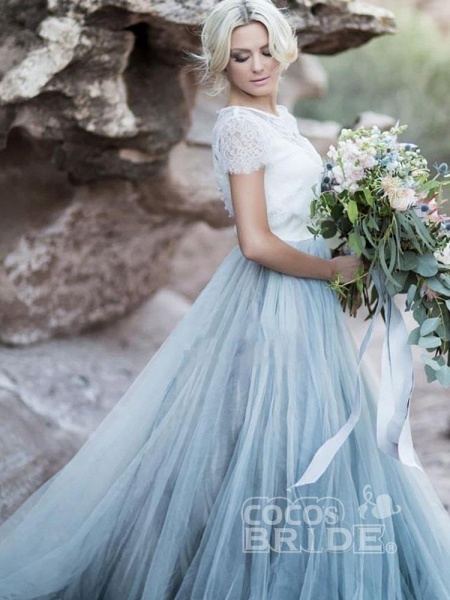Romantic Short Sleeves Sweep Train Tulle Wedding Dresses_3