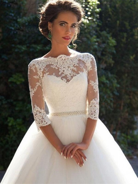 Gorgeous Half Sleeves Covered Button Ball Gown Wedding dresses_1