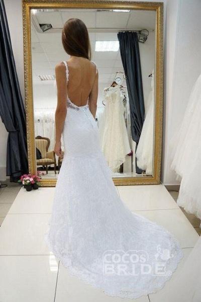White Straps Open Back Lace Sexy Sweetheart Customized Wedding Dress_3