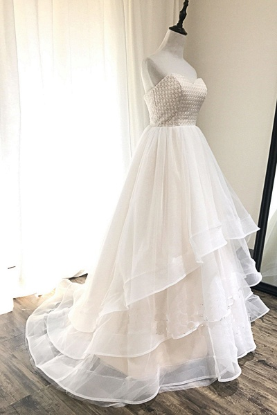 Ivory Tulle Sweetheart Neck Crystal Long Layered Wedding Dress_2