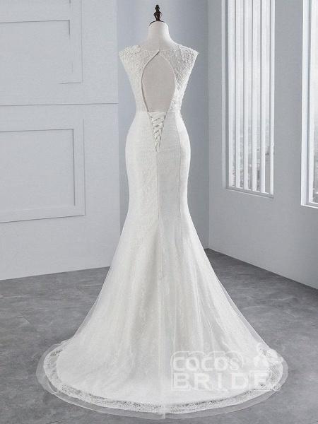 Elegant Lace Appliques Mermaid Pleated Wedding Dresses_3