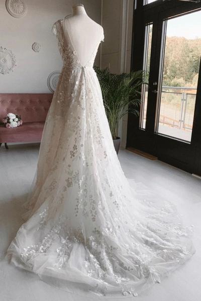 White Tulle V Neck Open Back Long Flower Lace Wedding Dress_2