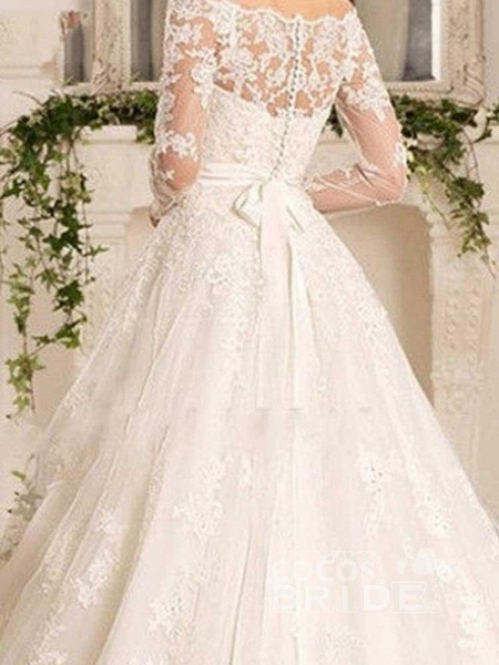 Off-the-Shoulder Tulle Ruffles Wedding Dresses_4
