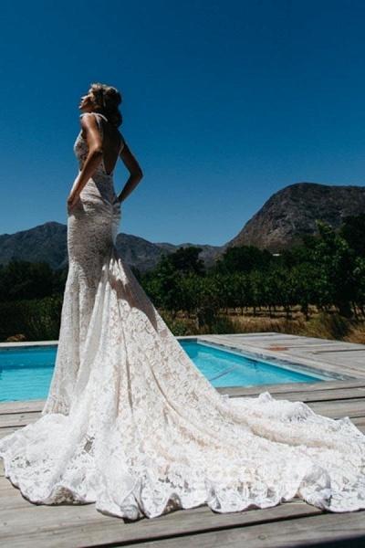 Deep V-Neck Beach Sleeveless Lace Mermaid Wedding Dress_2