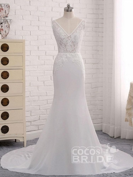 Modest V-Neck Lace Mermaid Wedding Dresses_2