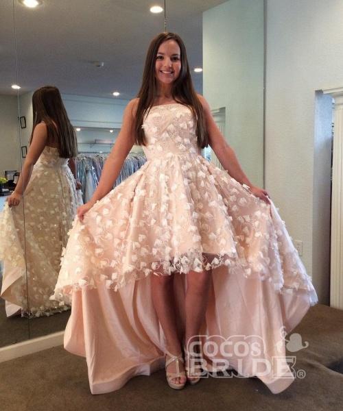 Strapless homecoming dress Cute Beach Wedding High-low Dress_2