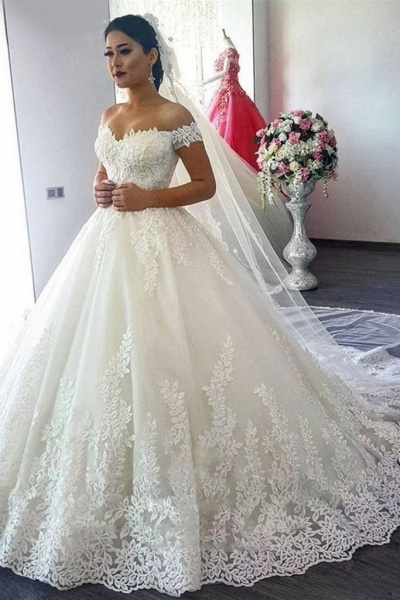 New Off The Shoulder Ivory Tulle Applique Sweep Train Wedding Dress_1