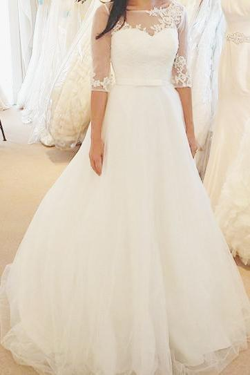 Ivory Half Sleeves Floor-length Bateau With Lace Applique Tulle Wedding Dress_1
