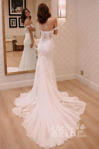 Sexy Off Shoulder Appliqued Beach with Court Train Ivory Wedding Dress_2