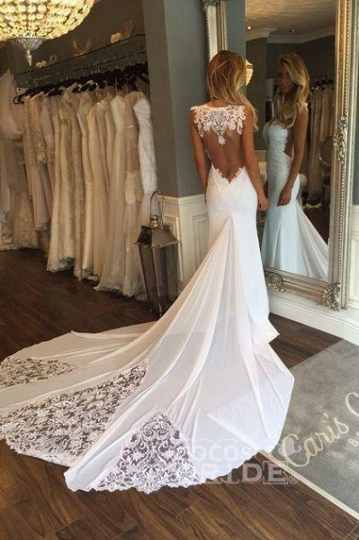 Mermaid Sexy Sheer Neck with Lace Unique Ivory Wedding Dress_3