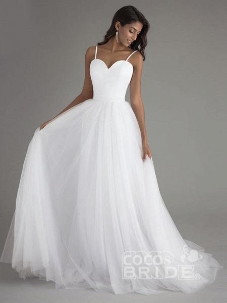 A Line Spaghetti Strap Beach Wedding Dresses White Tulle Bridal Gown_2