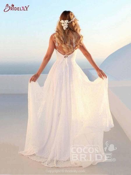 Glamorous V-Neck Backless Lace A-Line Wedding Dresses_2