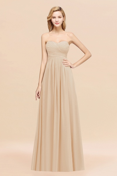 A-line Chiffon Sweetheart Strapless Ruffles Floor-length Bridesmaid Dress_14