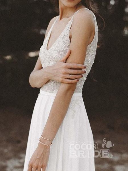 V Neck Lace Boho Wedding Dresses_5