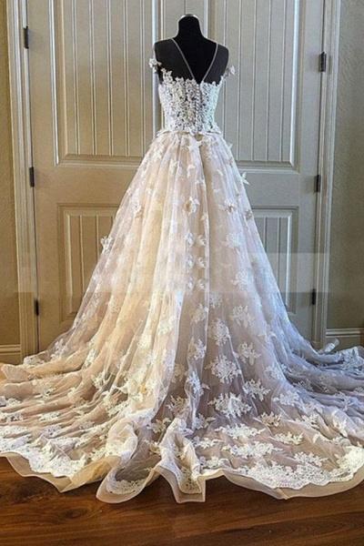 Creamy Lace Sweetheart Long A Line Long Wedding Dress_3