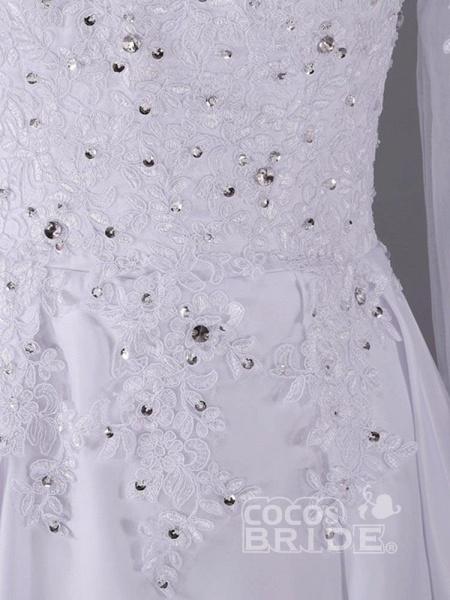 Long Sleeves Beaded Zipper Sweep Train Wedding Dresses_4