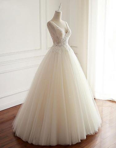 White Tulle Lace Open Back Long  Wedding Dress_2