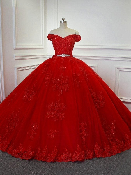 Red  Off-the -Shoulder Lace-Up Crytal Princess Wedding Dresses_1