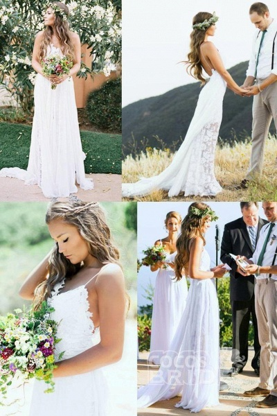 Casual Boho Spaghetti Straps Lace Beach Wedding Dress_4