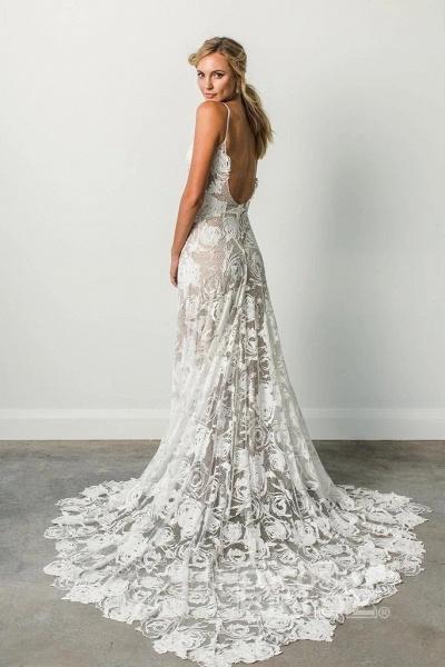 Spaghetti Straps Backless Lace Boho Wedding Dress_2