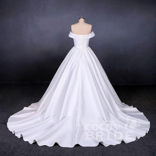 Puffy Off the Shoulder Satin Ball Gown Long Train Wedding Dress_2