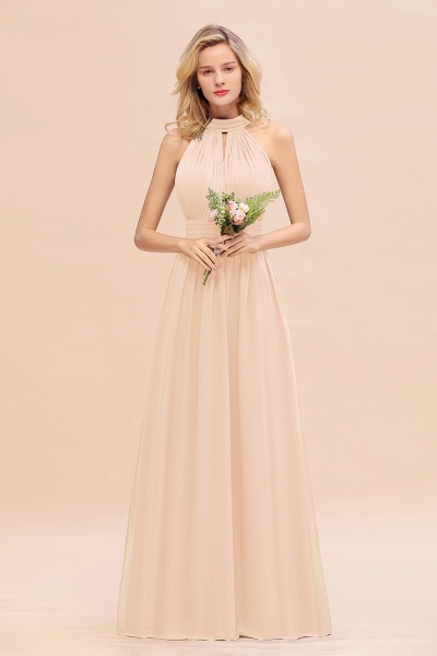 BM0758 Glamorous High-Neck Halter Bridesmaid Affordable Dresses with Ruffle_5