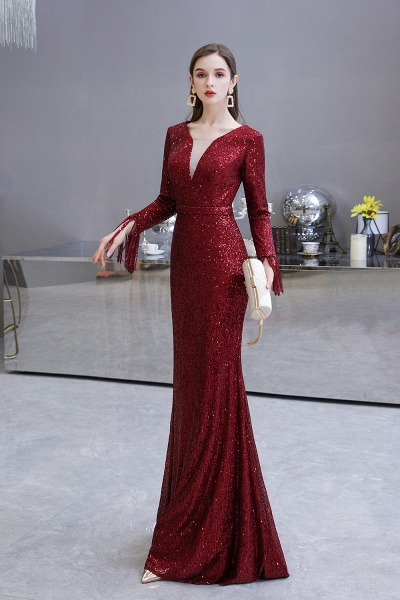 Gorgeous Sequins Long Sleeve V-Neck Mermaid Evening Gowns_25