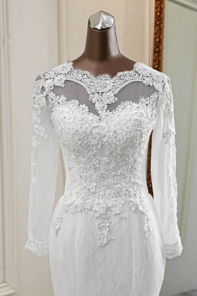 Elegant Mermaid Tulle Jewel Long Sleeves Wedding Dress_6