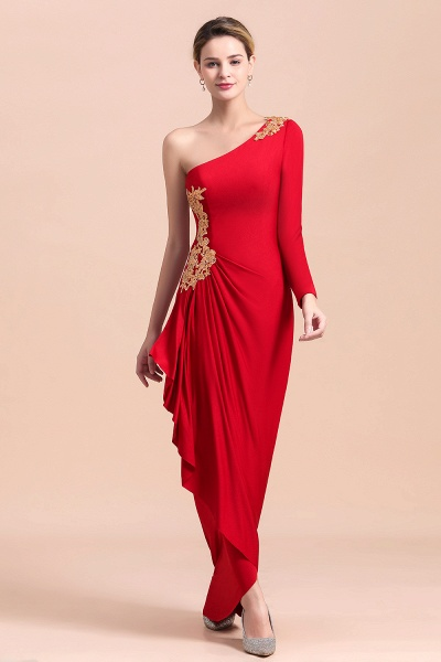 One-Shoulder Gold Appliques Long Sleeves Ruffles Mother of Bride Dress_9