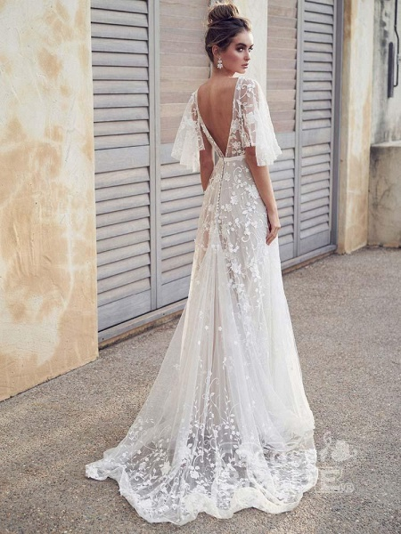 Cheap V Neck Half Sleeve Lace Boho Wedding Dresses_6