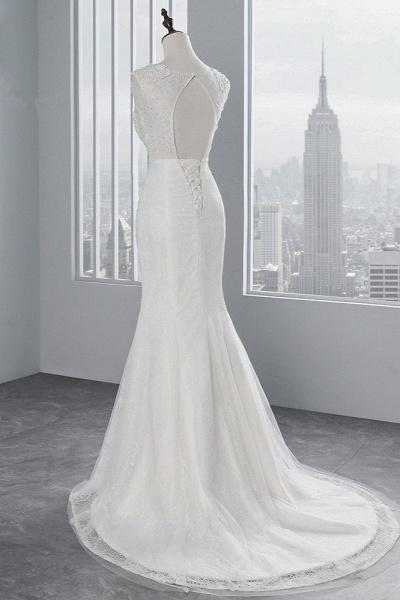 Glamorous Long Mermaid Jewel Tulle Sleeveless Wedding Dress with Appliques Lace_4