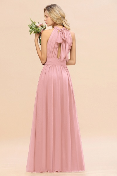 BM0758 Glamorous High-Neck Halter Bridesmaid Affordable Dresses with Ruffle_54