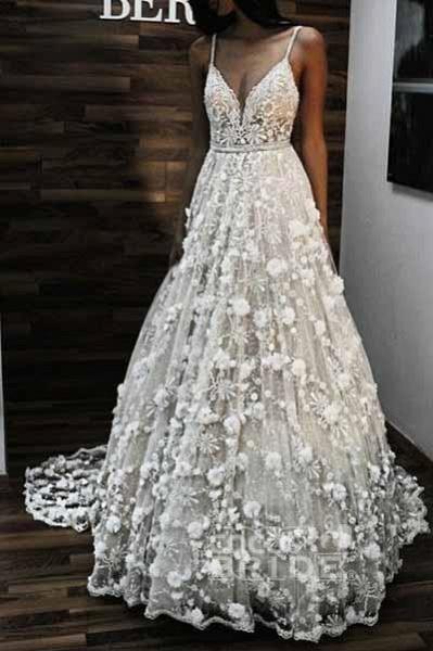 Charming V Neck Spaghetti Straps Lace Backless Long Wedding Dress_2