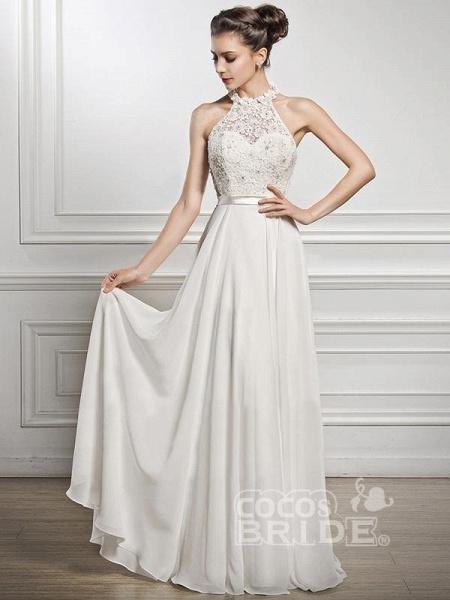 Halter Sleeveless Open Back A-Line Wedding Dresses_4