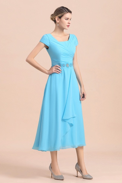 Blue Short Sleeves Chiffon Ruffles Tea-length Mother of the Bride Dress_5