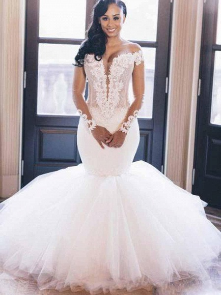 Elegant V-Neck Long Sleeves Mermaid Wedding Dresses_1