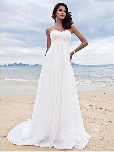 High Waist Elegant Sweetheart Ruffles Wedding Dresses_4